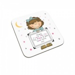 Personalised I Love You To The Moon & Back Child Coaster (Brown Haired Girl)